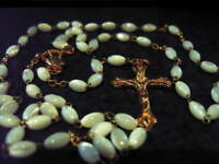 MOTHER of PEARL ROSARY Beads Rosaries GOLD Plated OVAL