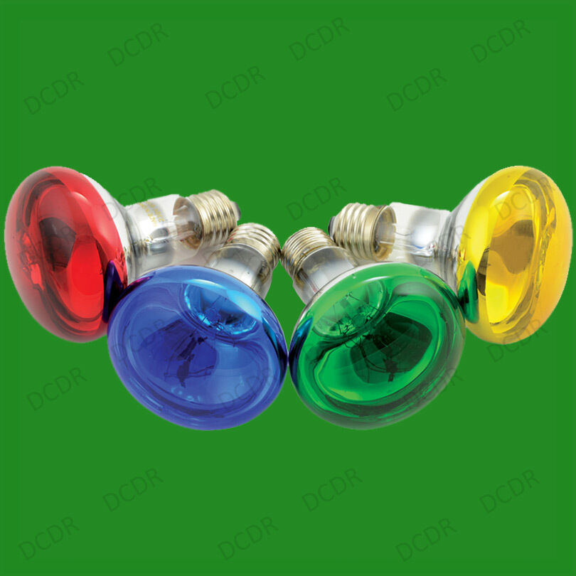 4x 60w R80 Coloured Reflector Dimmable Disco Spot Light Bulbs Es E27 Screw Lamps Ebay