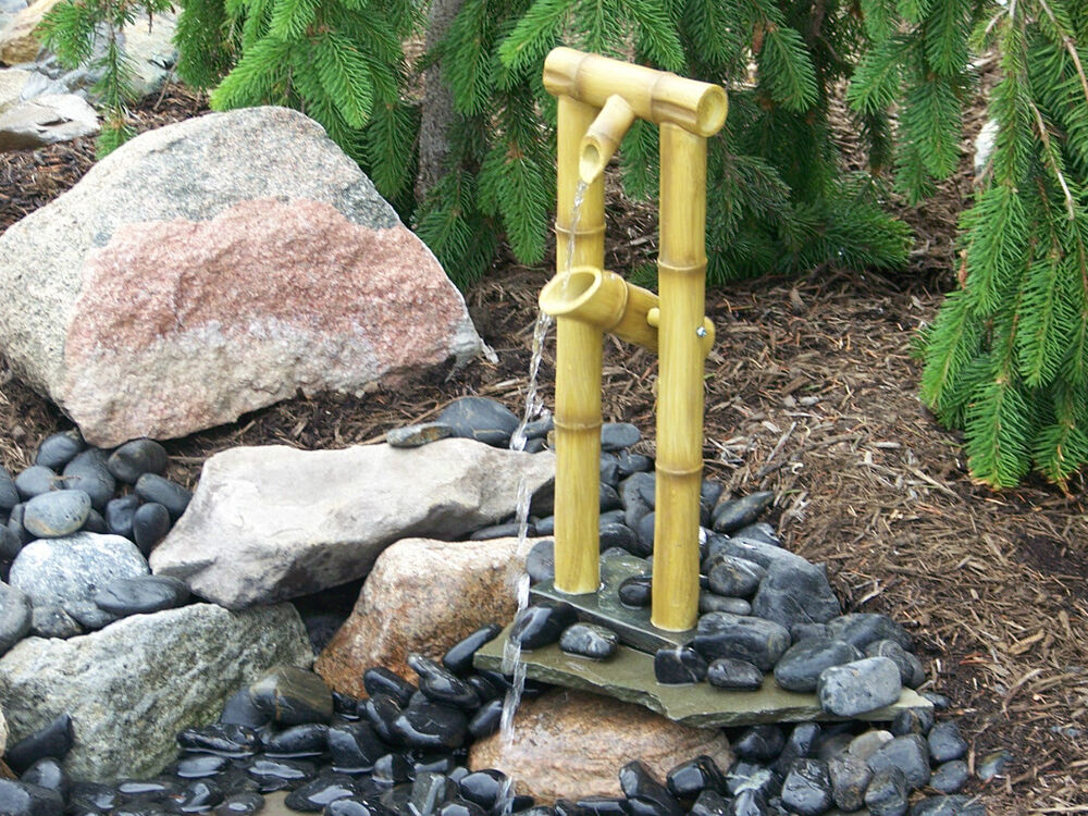 Deer scarer bamboo fountain pump included water garden for Japanese garden water features bamboo
