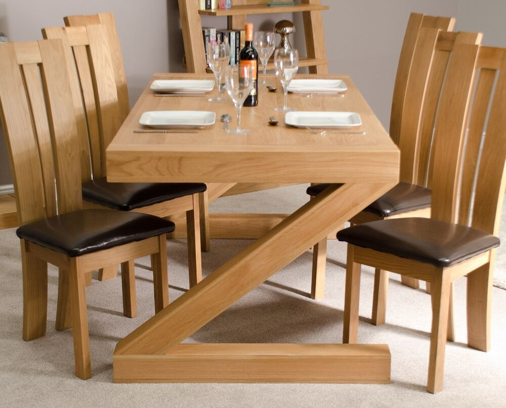 Zaria Solid Oak Designer Furniture Large Chunky Dining Room Table EBay