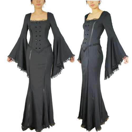Sexy Black Mermaid Dress Bell Sleeves Long Victorian