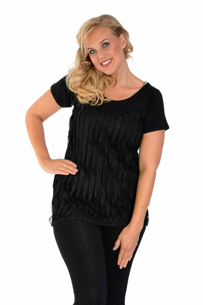 New Womens Top Plus Size Ladies Ruffle Short Sleeve ...