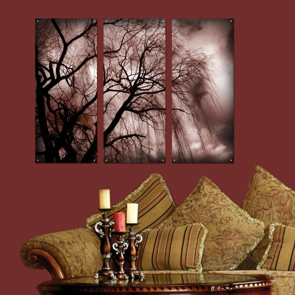 3 Piece Wall Art Nature Dark Tree Plexi Glass Art