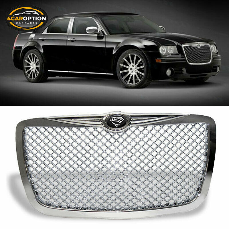 04 10 chrysler 300c 300 c chrome mesh grill grille s. Black Bedroom Furniture Sets. Home Design Ideas