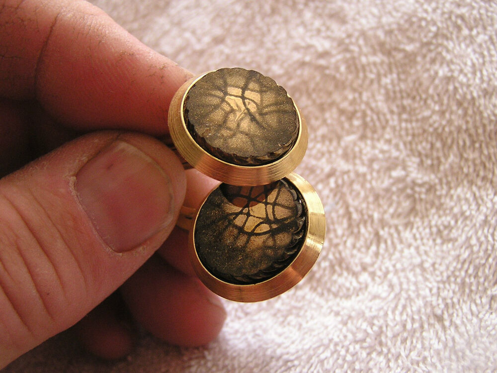 vintage cufflinks with brown and black stones ebay. Black Bedroom Furniture Sets. Home Design Ideas