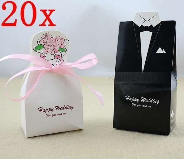 Wedding Gift Box Ebay : 40 Wedding Dress Tuxedo Favor Gift Boxes eBay