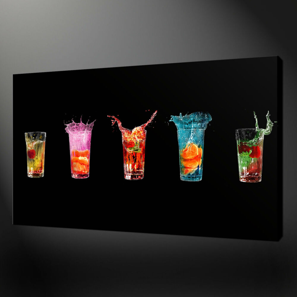 COLOURFUL DRINKS KITCHEN ART CANVAS PRINT WALL DESIGN