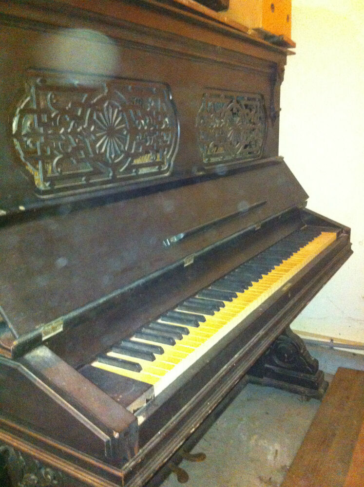 piano gorgeous antique hallet davis piano upright piano needs restoration ebay. Black Bedroom Furniture Sets. Home Design Ideas
