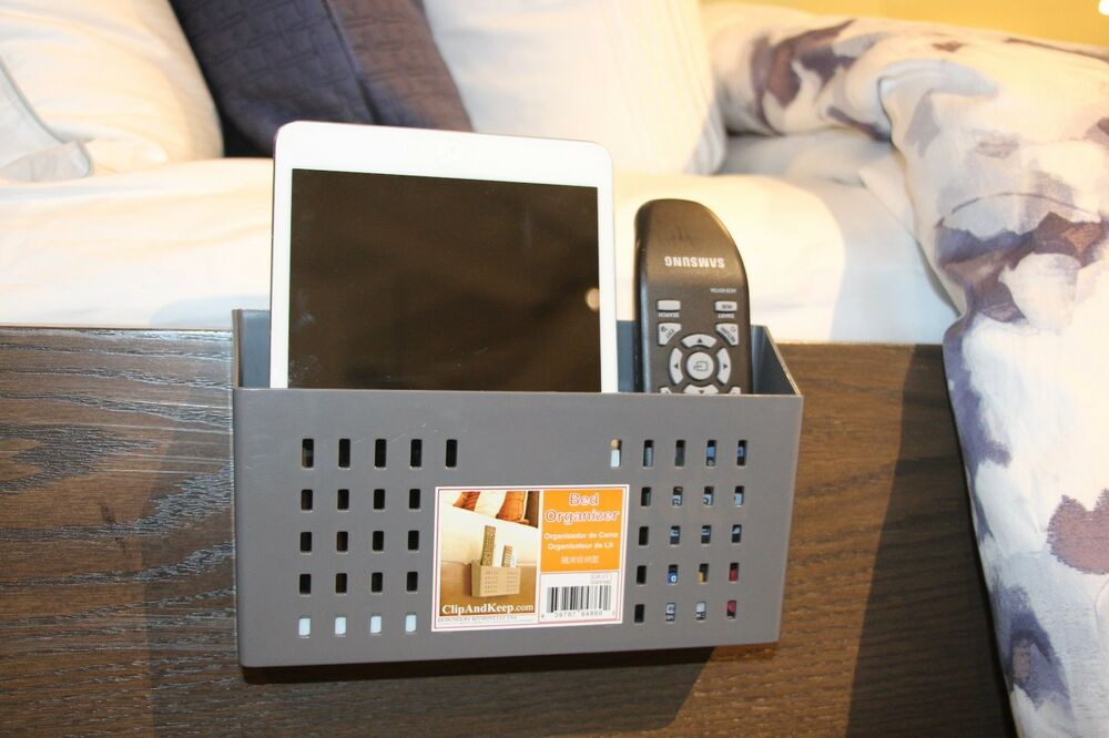 bedside organizer remote control caddy bedside caddy tablet smartphone ebay. Black Bedroom Furniture Sets. Home Design Ideas