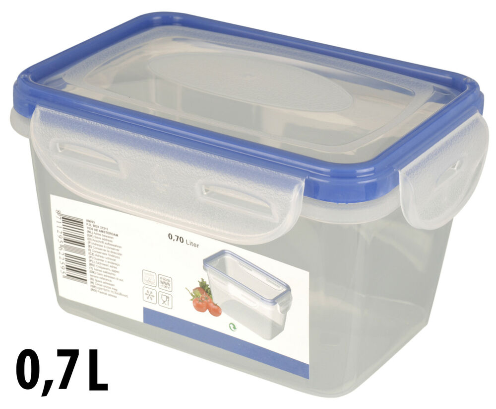 Clear Plastic Food Lunch Containers With Blue Click Lock