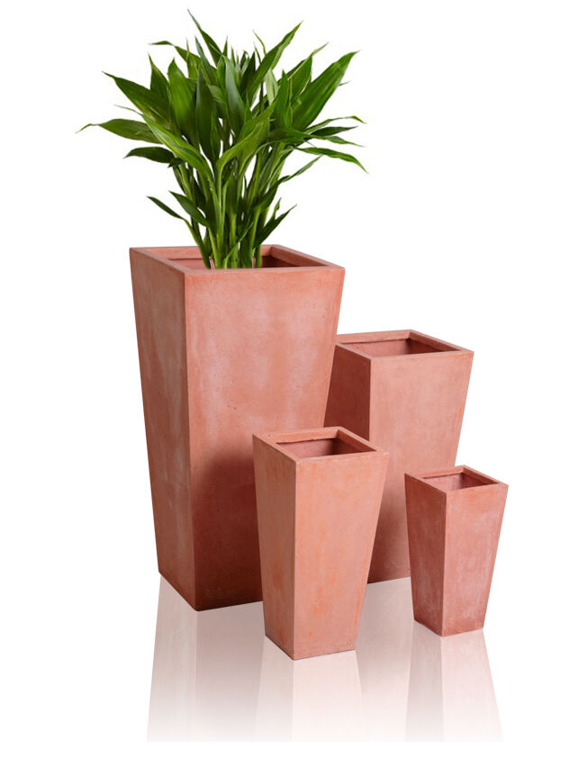 tall terracotta flared square planter plant flower pots garden outdoor indoor