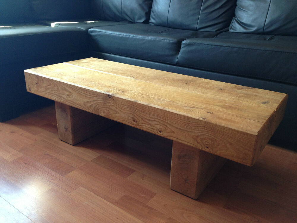 Chunky Rustic Solid Oak Sleeper Coffee Table Various Sizes