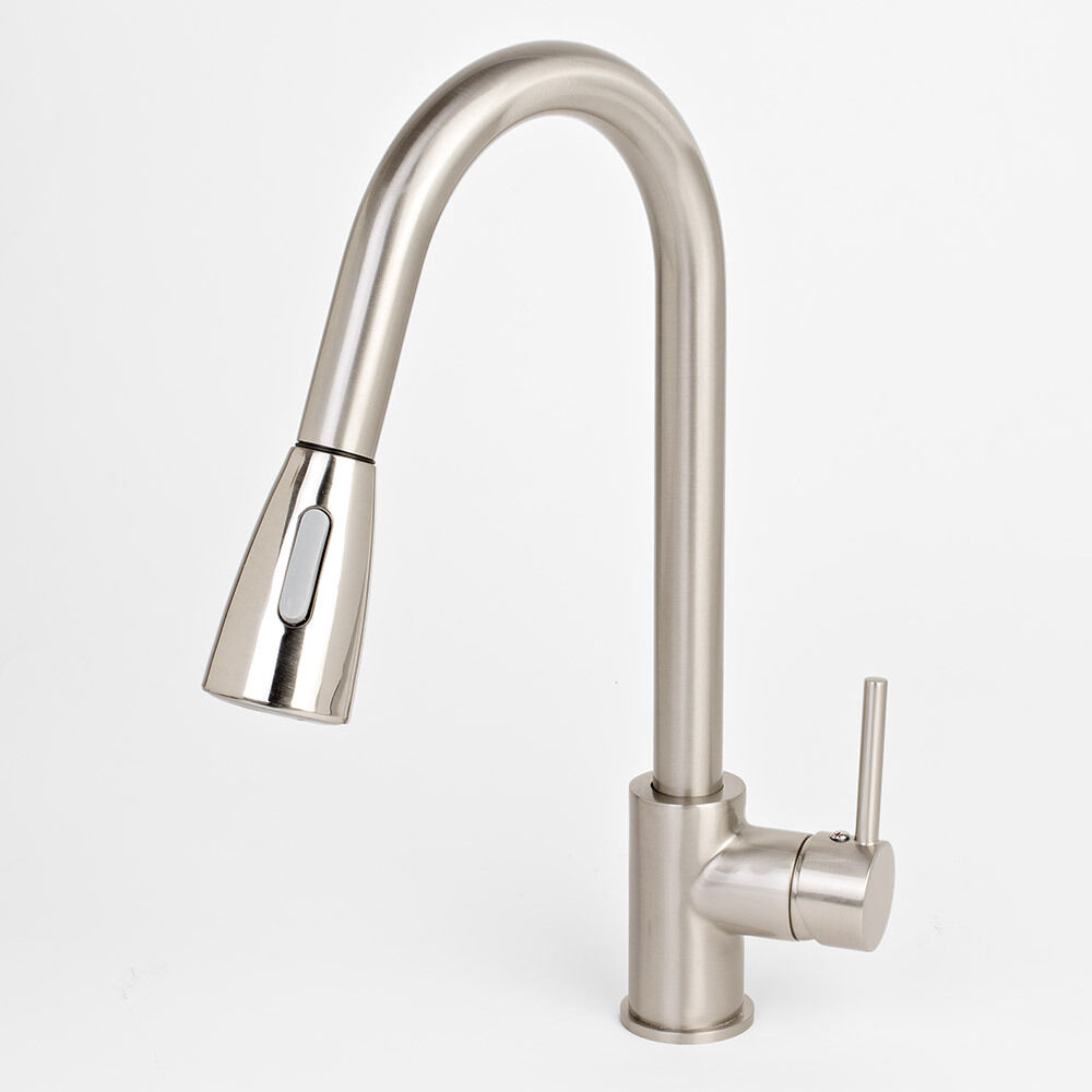 NEW 16 Brushed Nickel Kitchen Sink Faucet Pull Out Down Dual Spray Swiv
