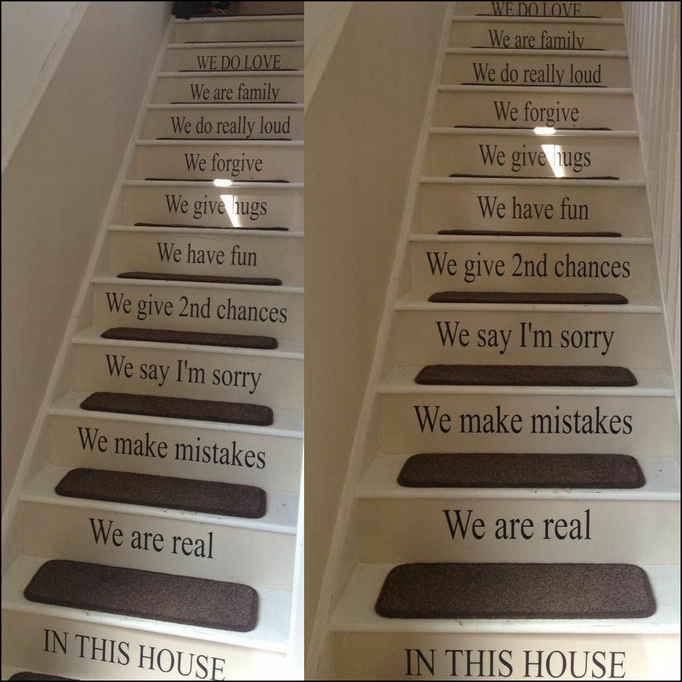 custom stairs quote in this house rules your design wall sticker
