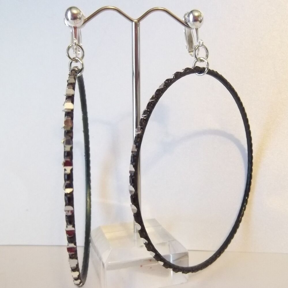 large clipon earrings clip on 2 75 quot black laser cut thin large hoop earrings 9313