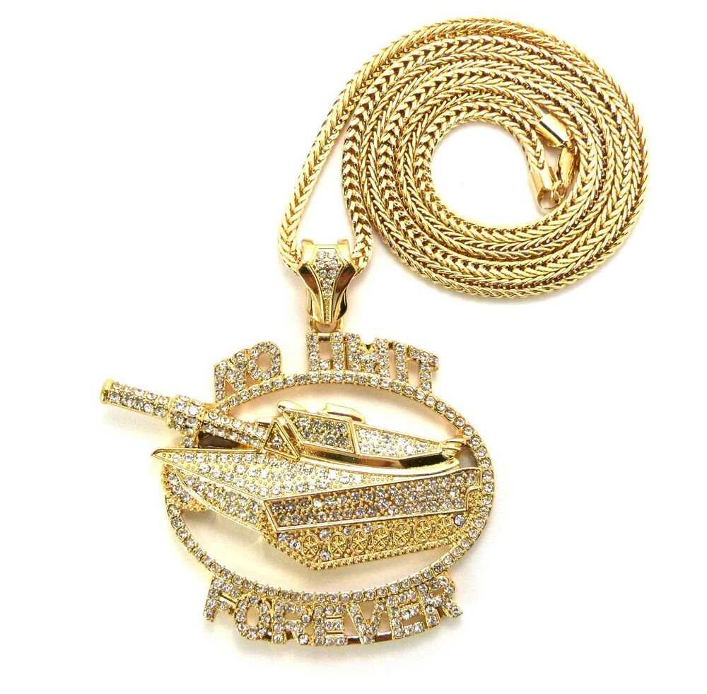"""ICED OUT NO LIMIT FOREVER PENDANT & 4mm/36"""" FRANCO CHAIN ..."""
