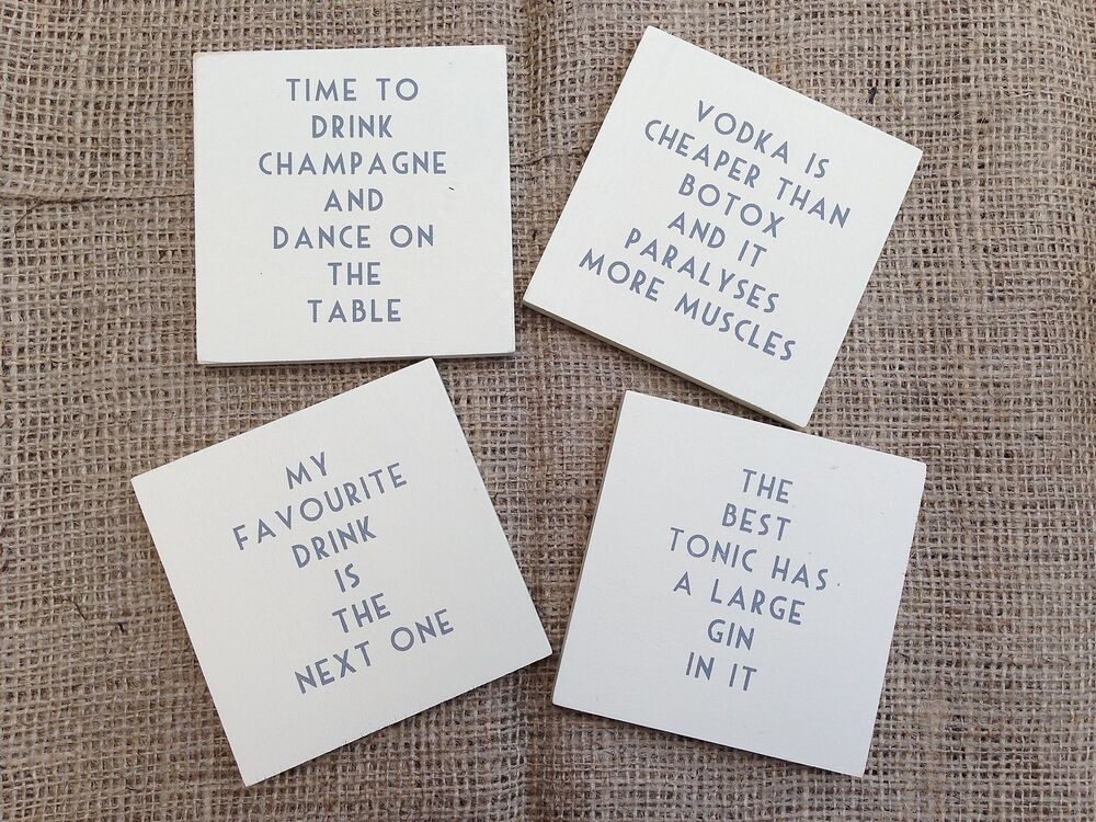 Cream Vintage Wooden Drink Coasters Shabby Chic Gift Funny