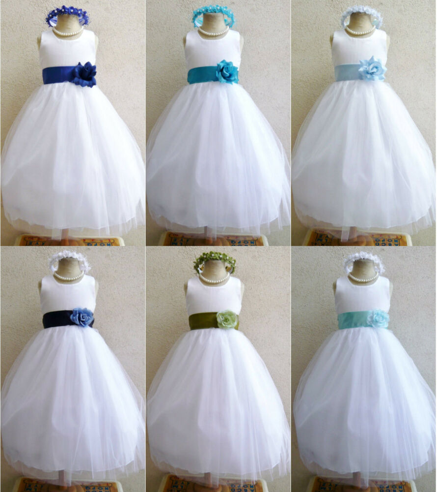 White turquoise aqua sky navy royal blue toddler bridal for Turquoise and white wedding dresses