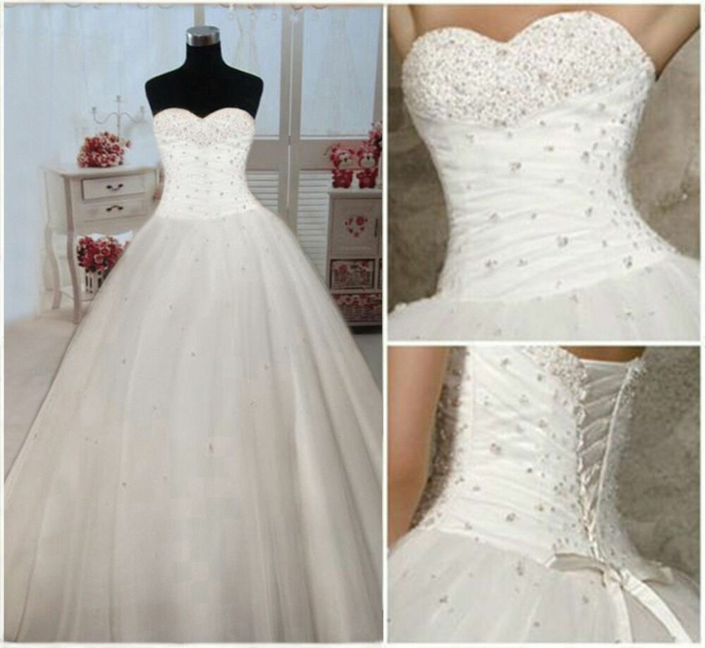 New white ivory wedding bridal dress prom ball gown size 6 for Ebay wedding dresses size 6
