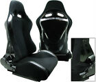2 BLACK + BLACK BACK COVER RACING SEATS RECLINABLE W/ SLIDER ALL BMW *