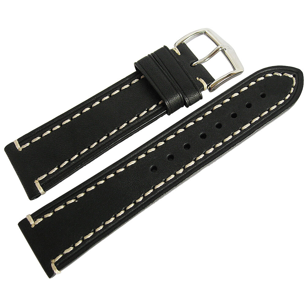 18mm hirsch liberty mens black leather contrast stitching watch band strap ebay for Black leather strap men