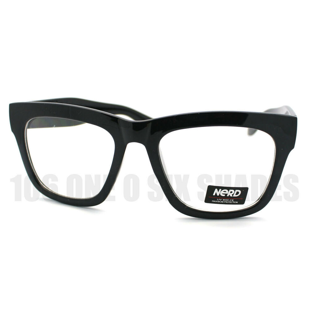 Good Eyeglass Frames For Thick Lenses : New Black Thick Eyeglass Frame Oversized Unisex Optical ...