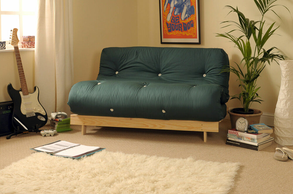Double 4ft Luxury Futon 2 Seater Wooden Frame Sofa Bed