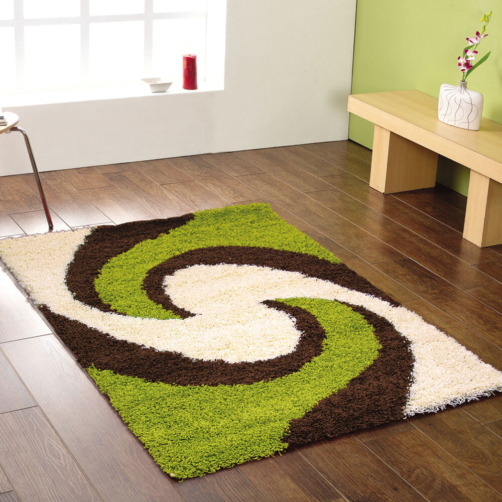 Small medium large extra large modern choc brown green for Green and cream rugs