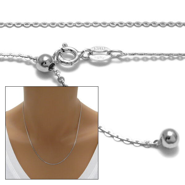 925 sterling silver rhodium adjustable flat rolo chain