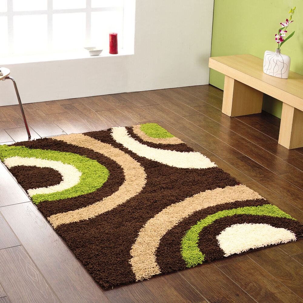 Small extra large dark chocolate brown lime green beige for Green and cream rugs