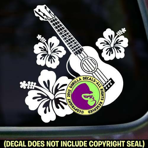 Ukulele Hibiscus Hawaiian Uke Aloha Bumper Car Window Sign