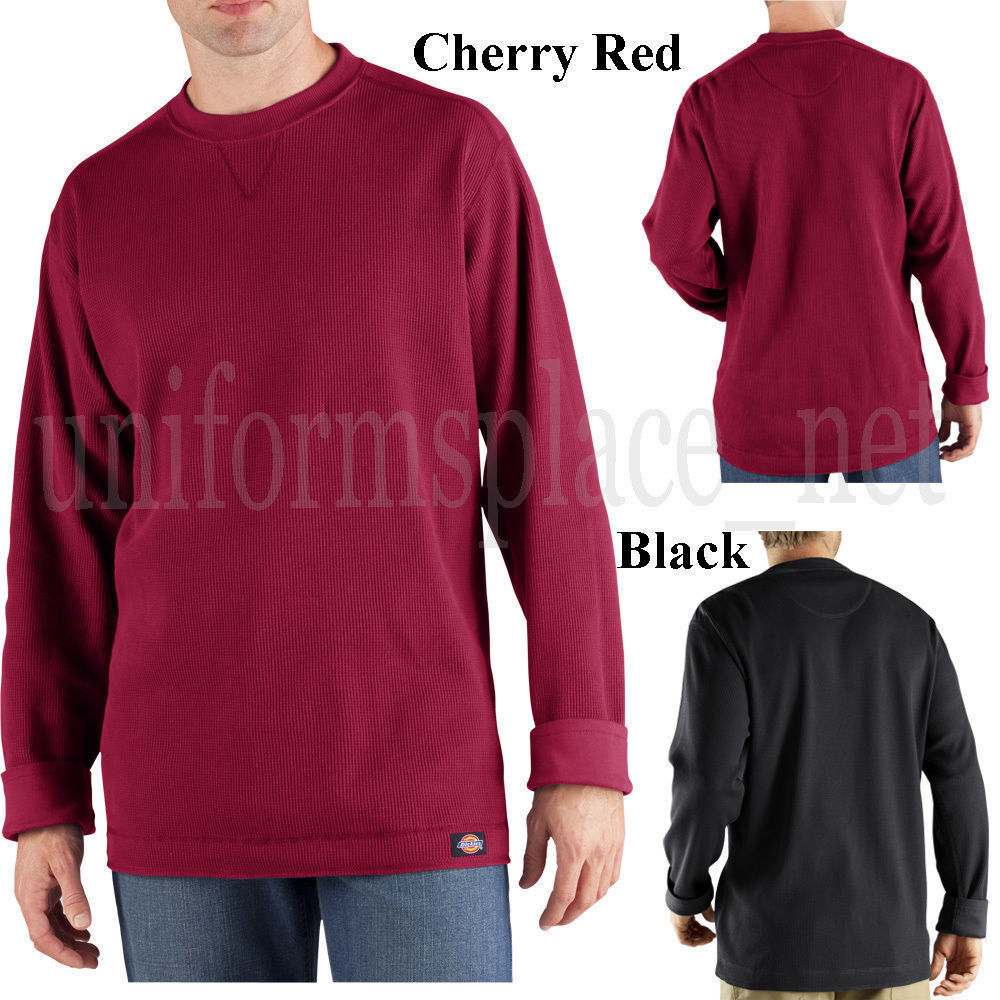 Men thermal shirts long sleeve dickies thermal crew neck t for Mens black thermal t shirts