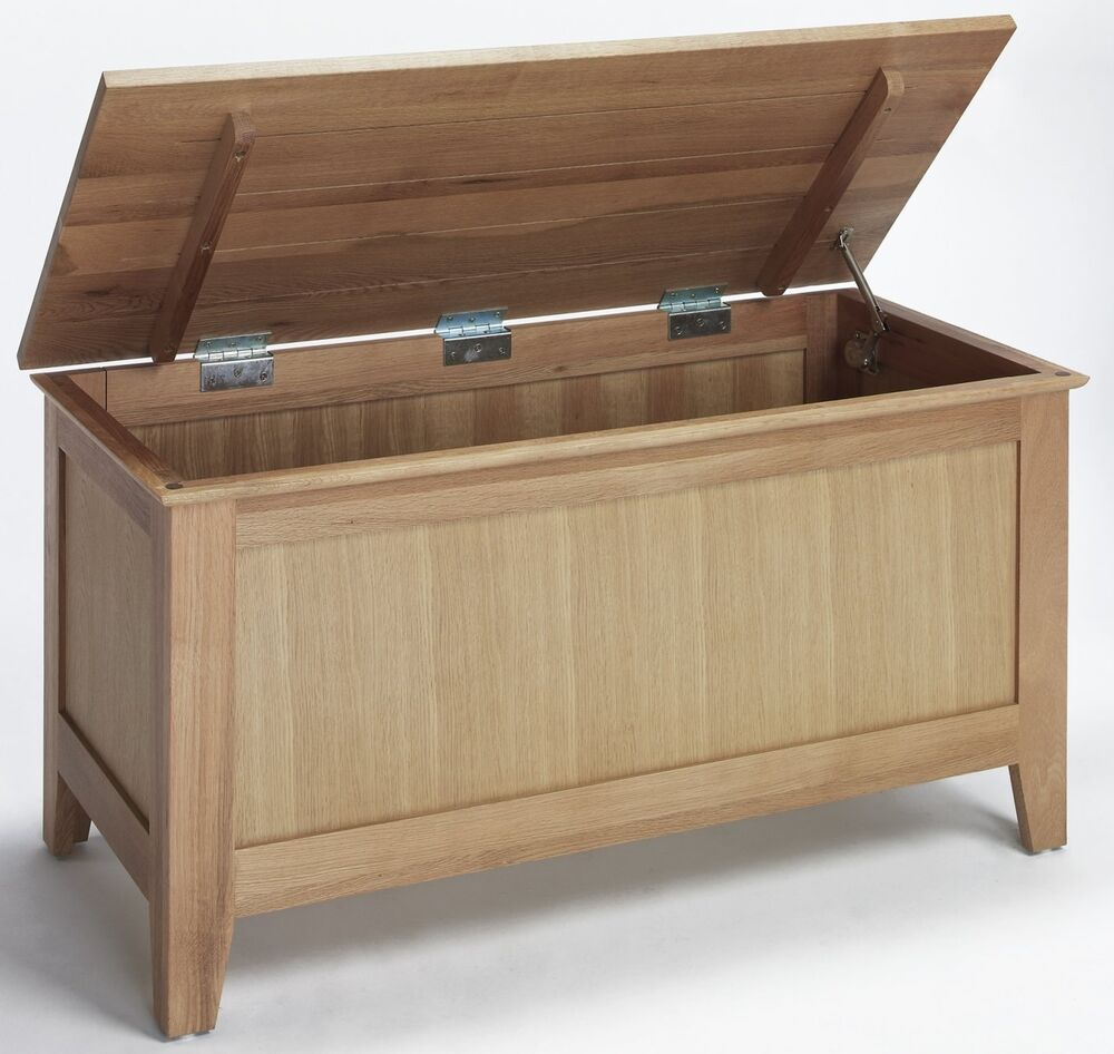 Mayfair solid oak furniture bedroom blanket storage box