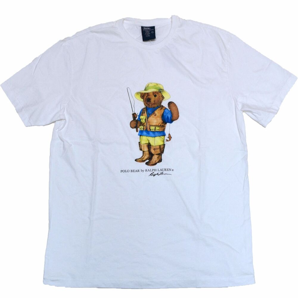 New Besst..! Ralph0087 Lauren Polo Bear White T-Shirt