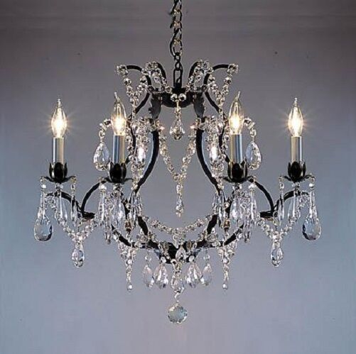 Rectangular Wrought Iron Chandelier Pictures Of Dining: 6 LIGHT CRYSTAL BLACK WROUGHT IRON CHANDELIER DINING