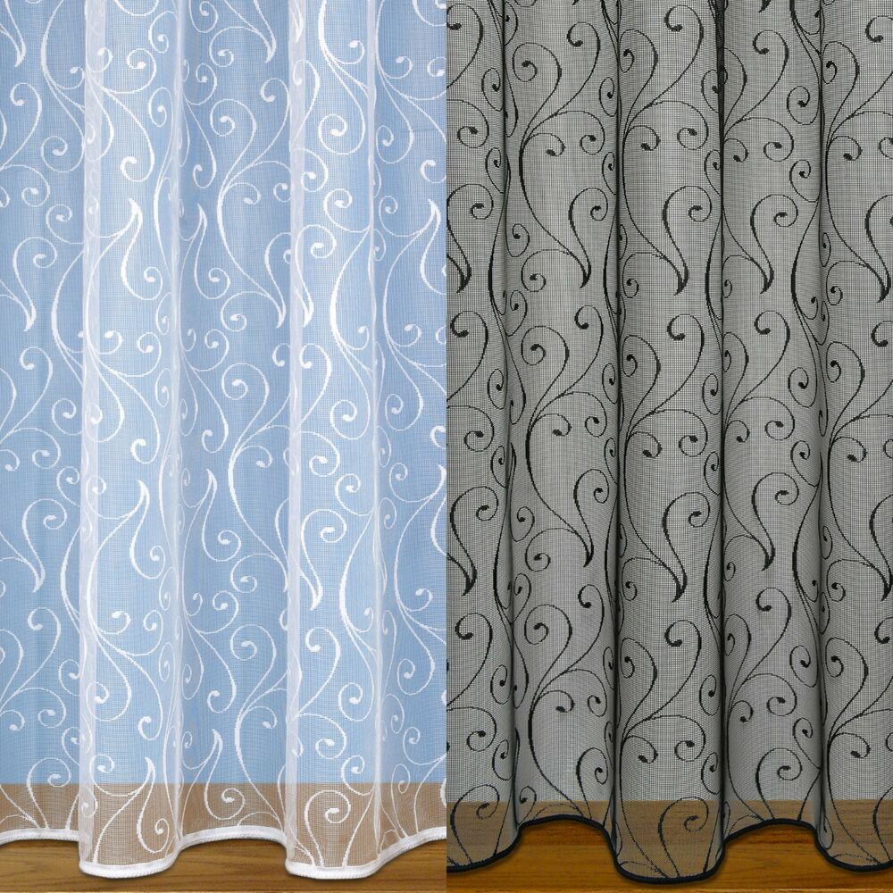 Scroll design net curtain with rod slot weighted base voile net curtains ebay - Curtains designs images ...