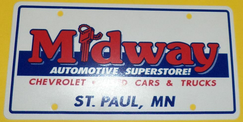 midway auto superstore st paul mn dealer plastic new car license plate 2 see ebay. Black Bedroom Furniture Sets. Home Design Ideas