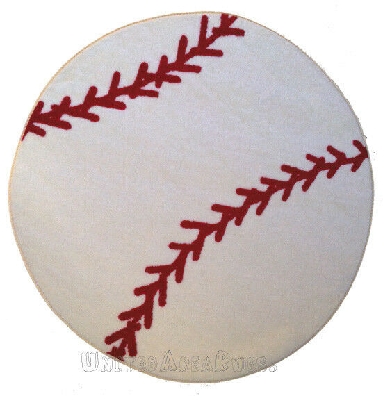 3x3 Sport Round Rug Baseball BALL With Non Skid Backing