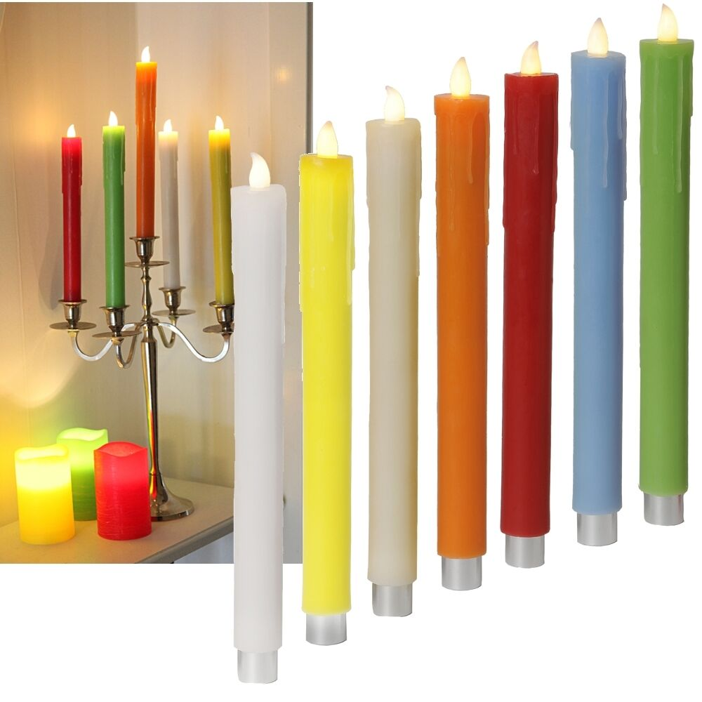 2er set led stab kerzen 26 5cm echtwachs mantel flammenlose tafelkerzen candle ebay. Black Bedroom Furniture Sets. Home Design Ideas