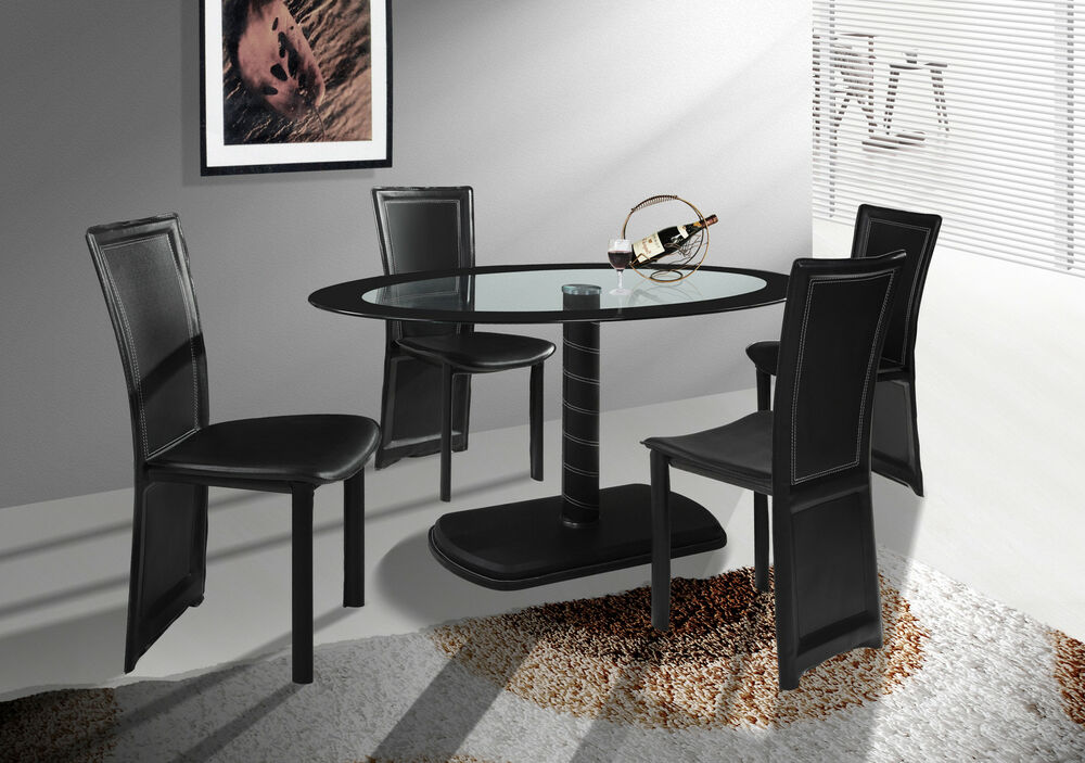 Cameo Oval Black Glass Dining Table with Optional 4 or 6 Faux