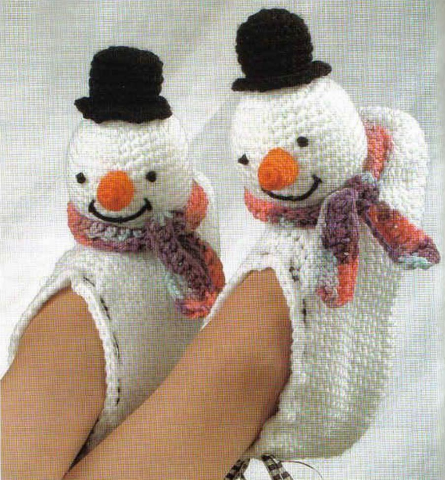 Crochet Pattern Christmas Slippers Fun Snowmen Novelty Ebay