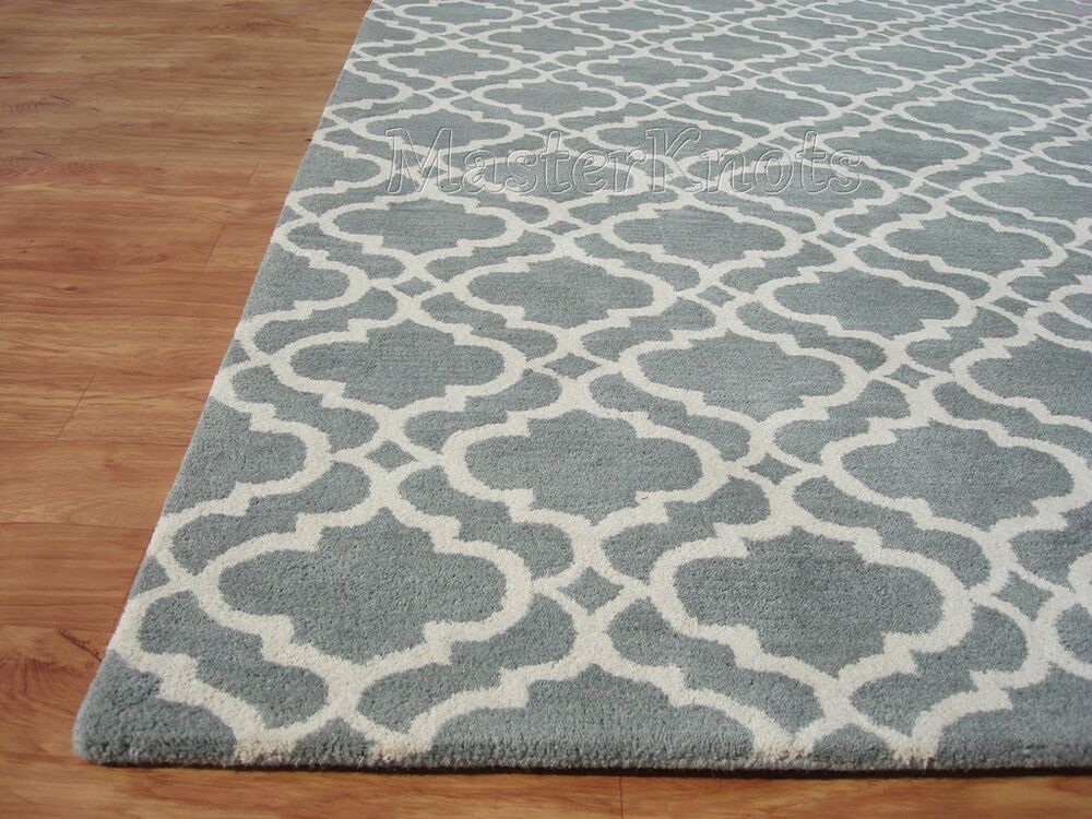 Brand new riyana scroll porcelain blue handmade moroccan for Blue and white carpet
