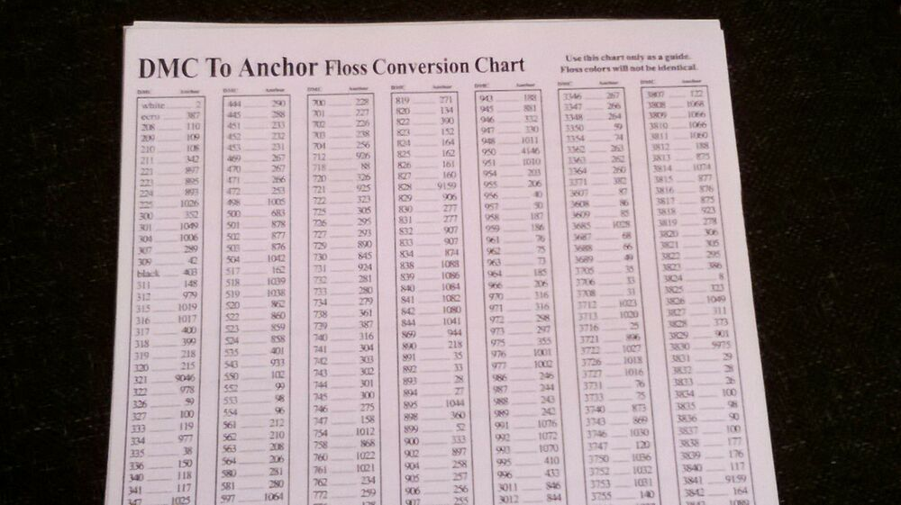 Dmc To Anchor Floss Conversion Chart In Plastic Sleeve Free Uk