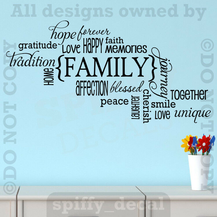 Family Memories Love Home Happy Smile Quote Wall Decal