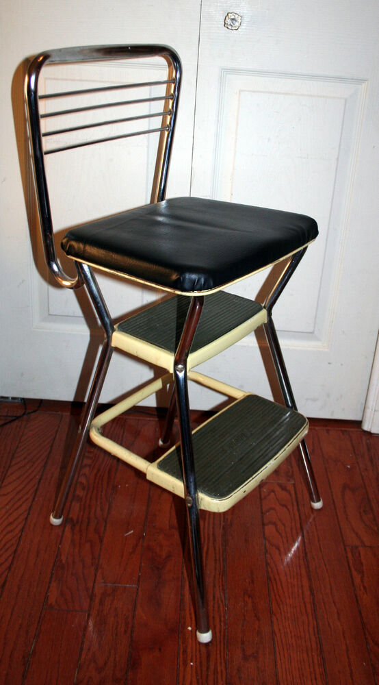 Vintage Yellow Cosco Kitchen Step Stool Retro Chair Seat