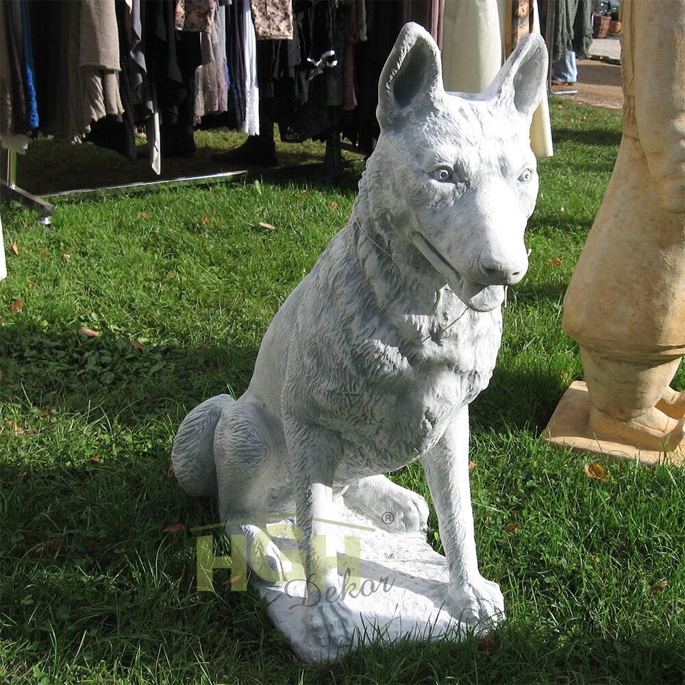 sch ferhund wolfs hunde stein figur garten deko beton ka0362 ebay. Black Bedroom Furniture Sets. Home Design Ideas