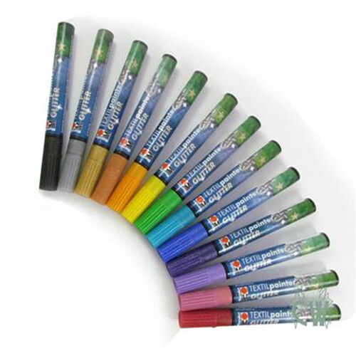 Marabu textil glitter fabric paint pens for light or dark for Paint pens for wood crafts