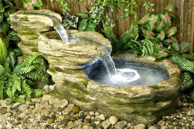 Cascading stone rock river cascade water feature with led light 2 tier fountain ebay - Fuentes de jardin solares ...