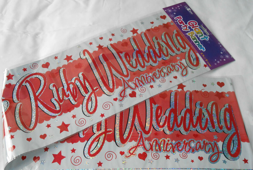 Wall Decoration For Wedding Anniversary : Giant ruby wedding anniversary banners wall