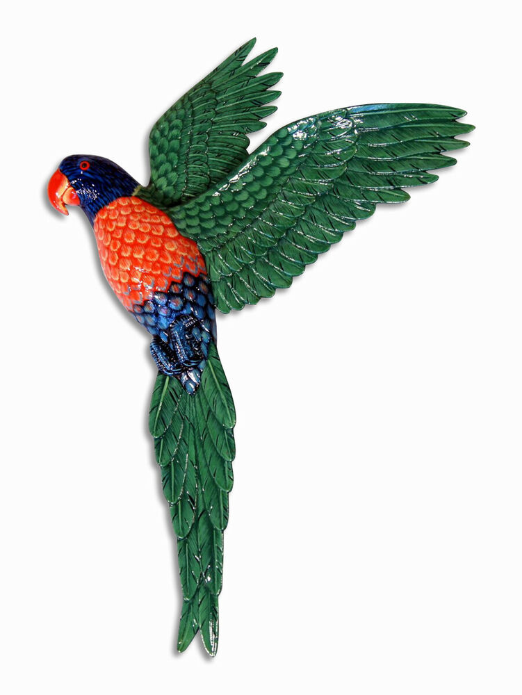 Hand Painted 19 Quot Green Flying Parrot Bird Wall Mount Decor